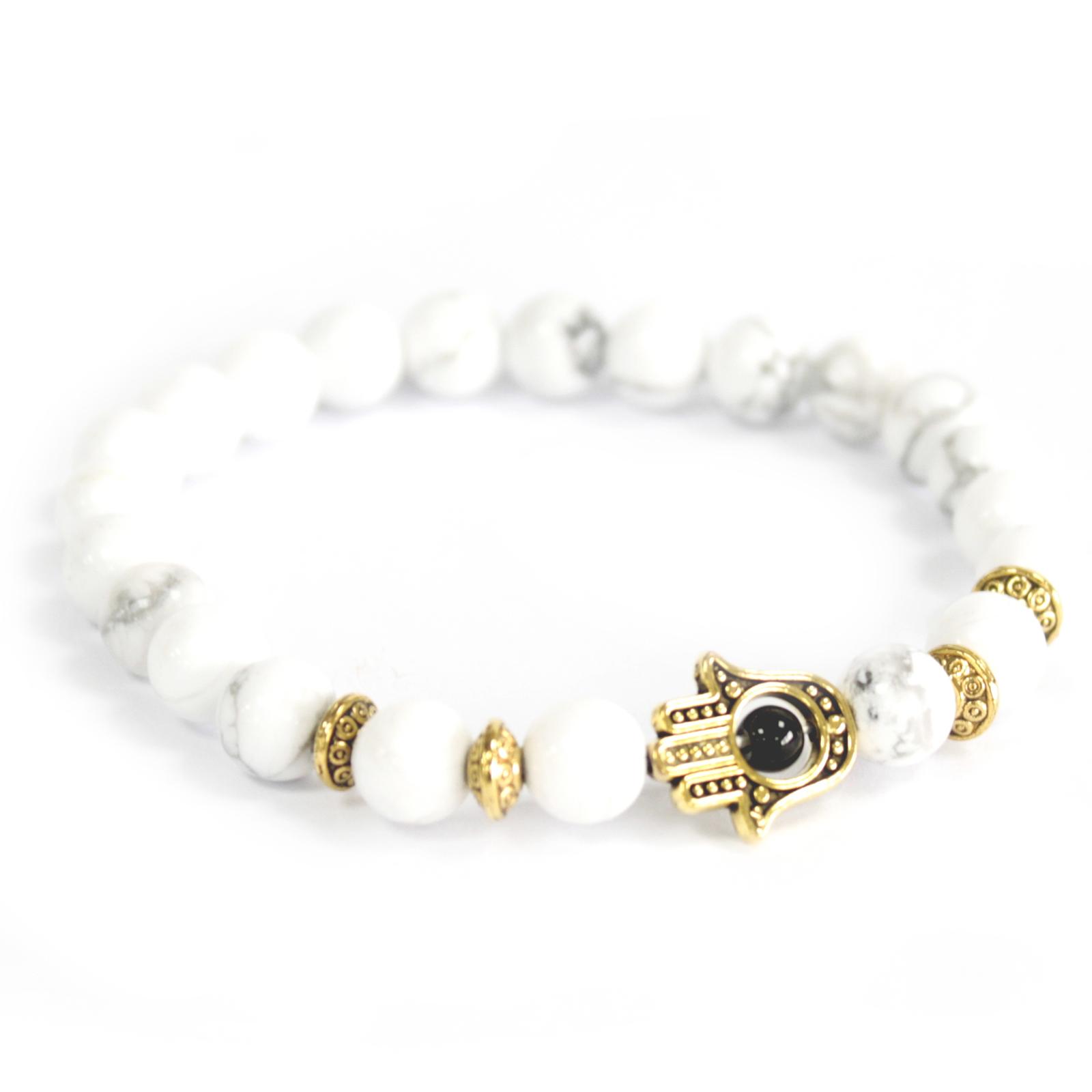 3x Gold Hamsa / White Stone - Gemstone Bracelet