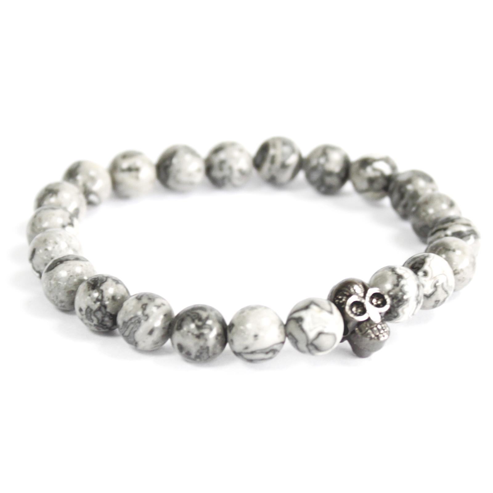 3x Pewter Skull / Grey Agate - Gemstone Bracelet