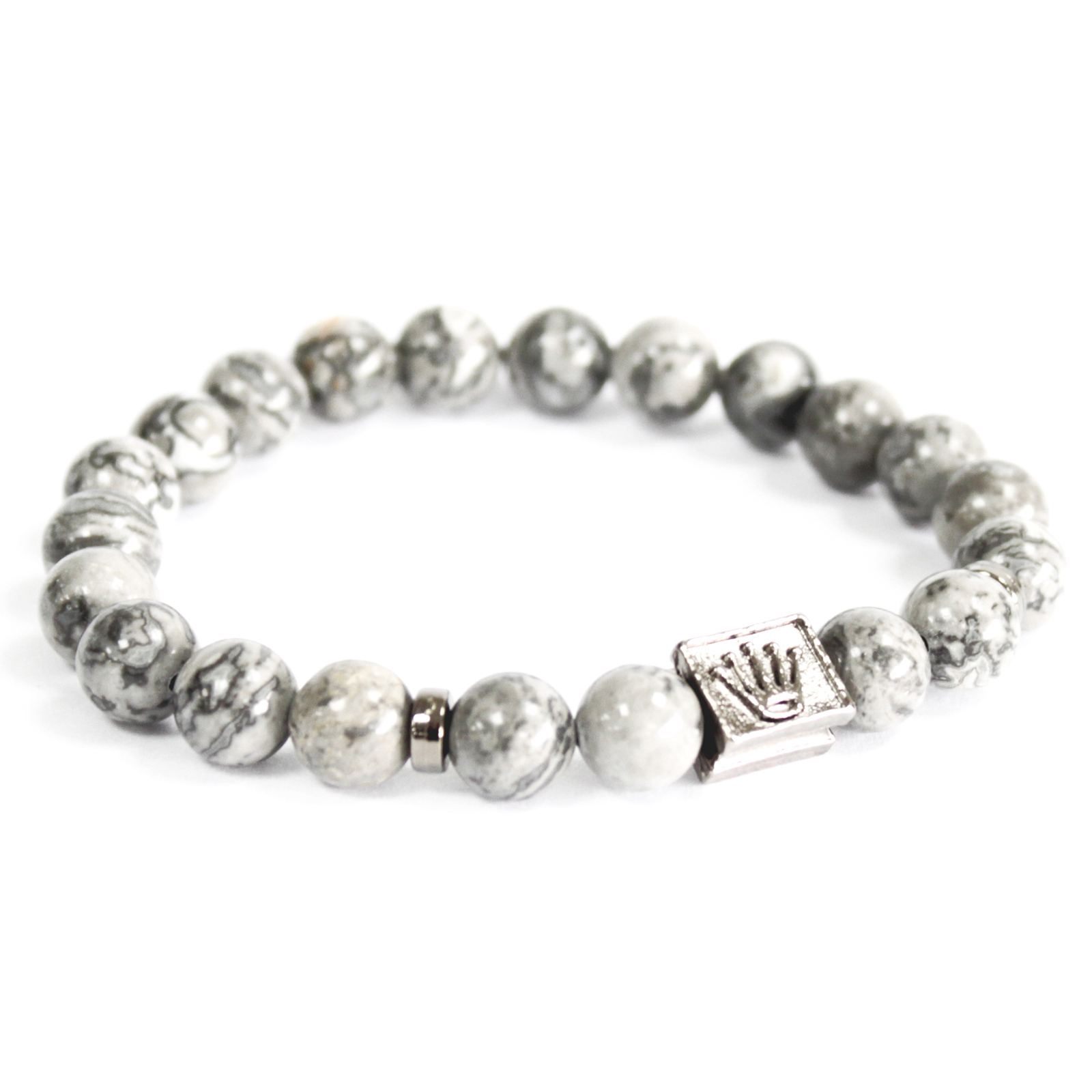 3x Crown Ingot / Grey Agate - Gemstone Bracelet