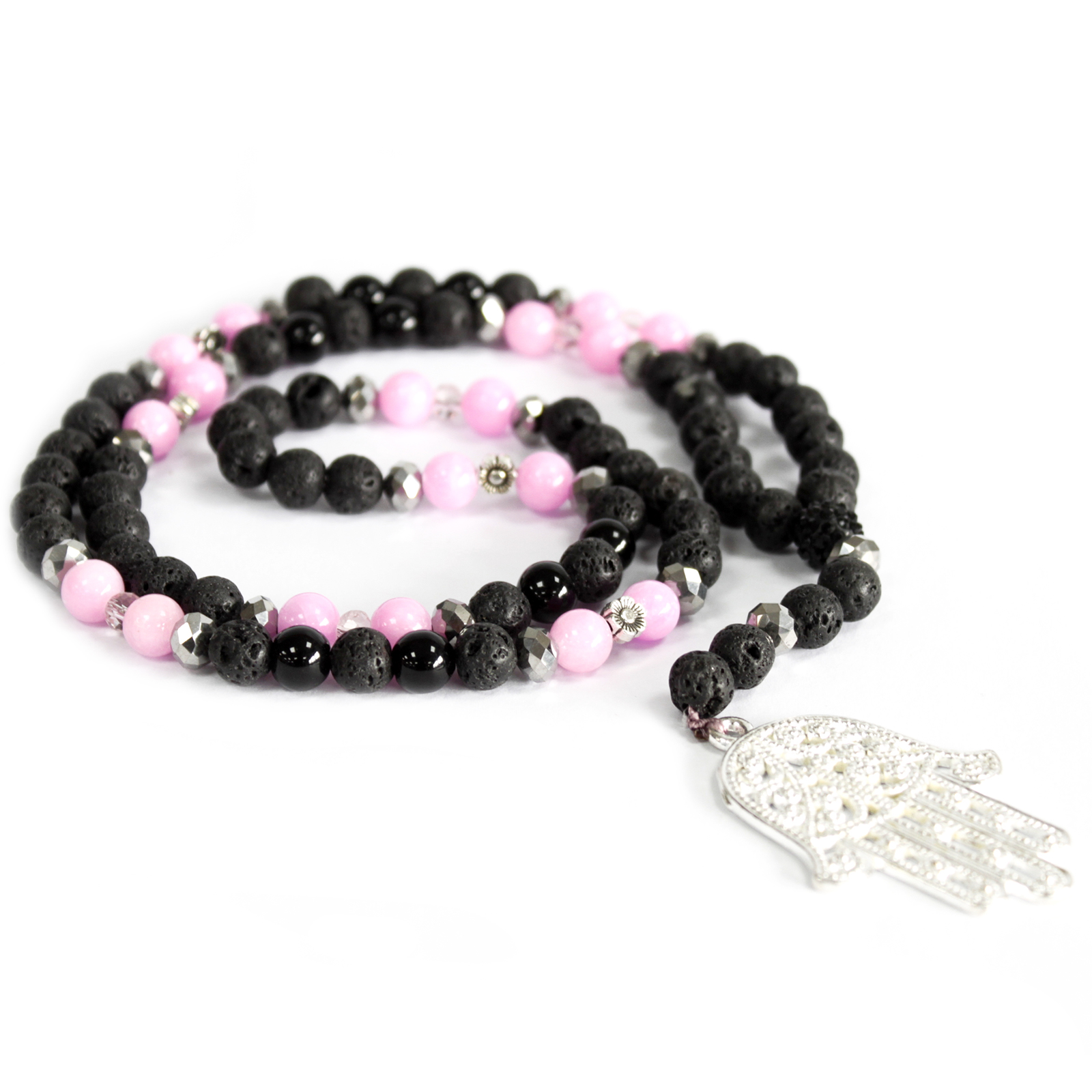 Hamsa / Pink & Black - Gemstone Necklace