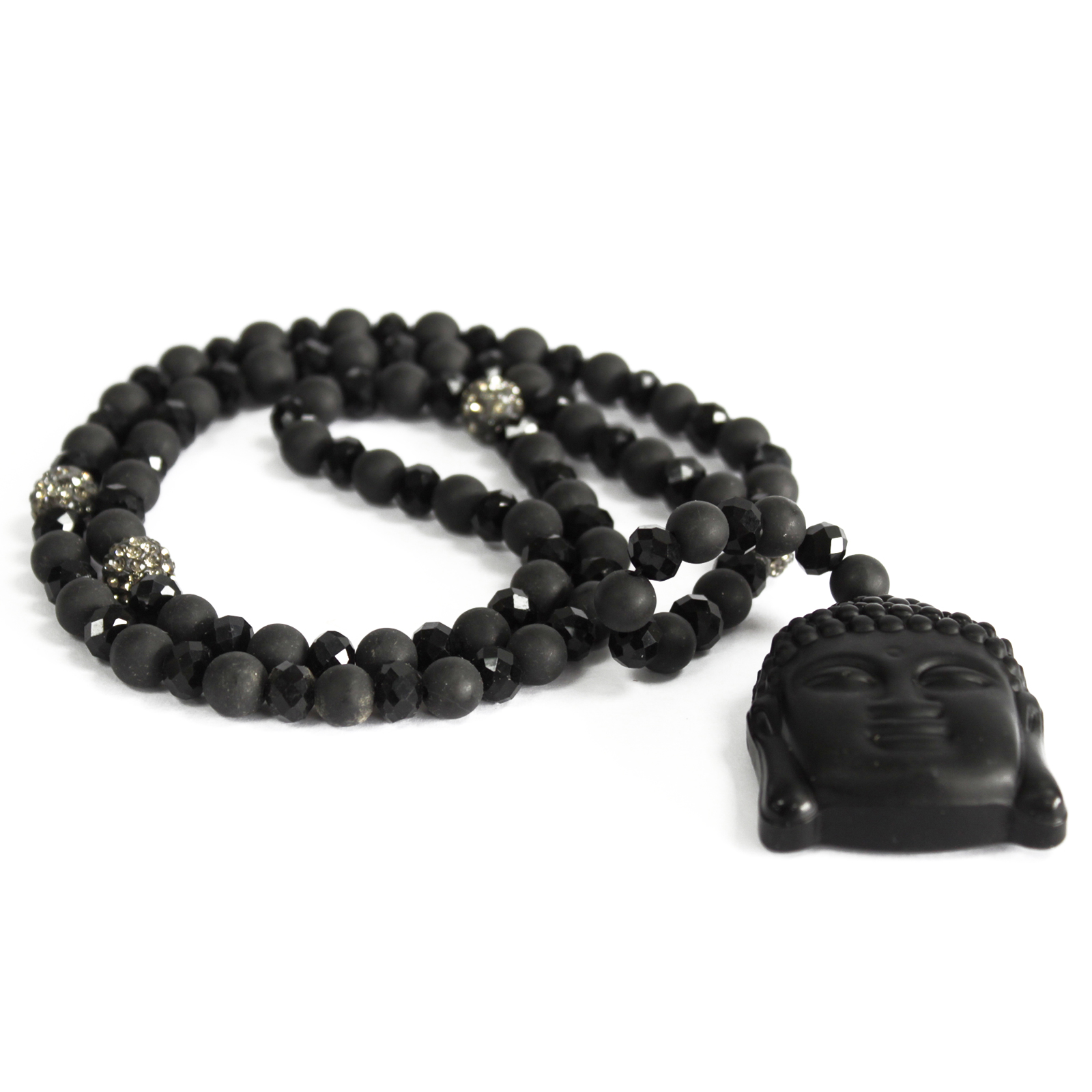 Buddha / Black Stone - Gemstone Necklace