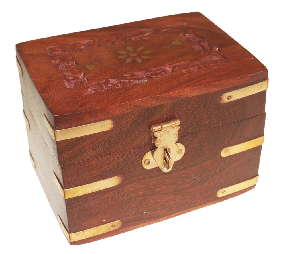 Carved Wooden Box holds 6x10ml bottles