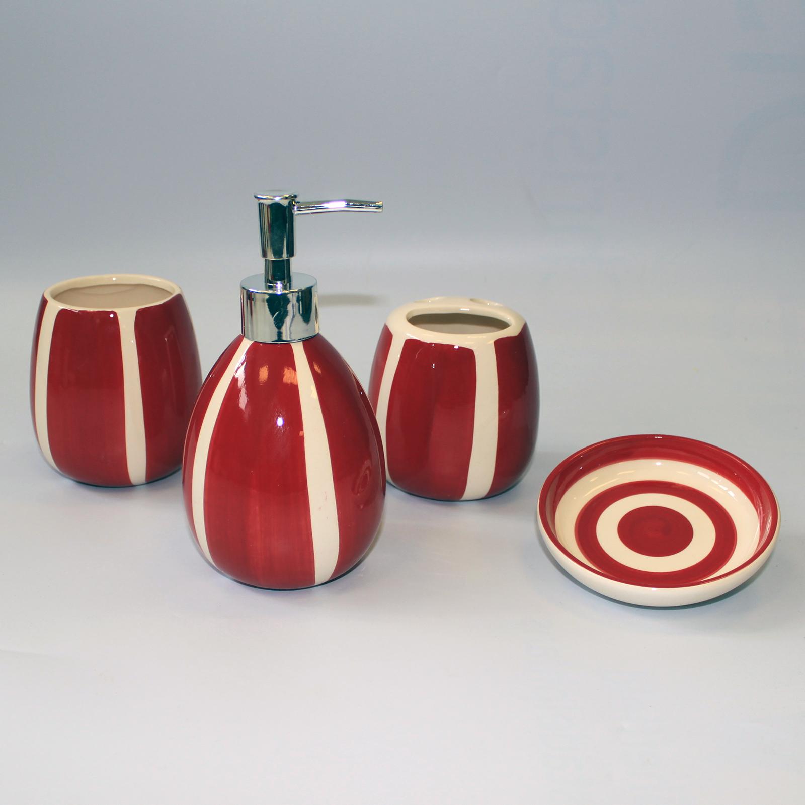 Ceramic Bath Set - Burgundy Bachelor