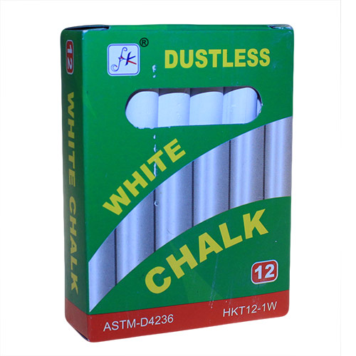 12 White Dustless Chalks