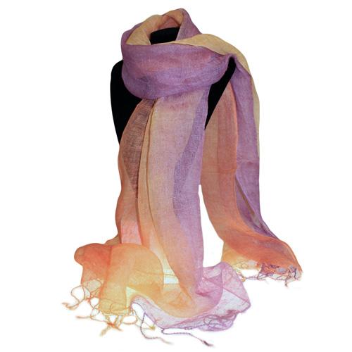 Classic Linen Scarf - Peach Purple Combo