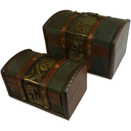Set of 2 Colonial Boxes - Metal Embossed