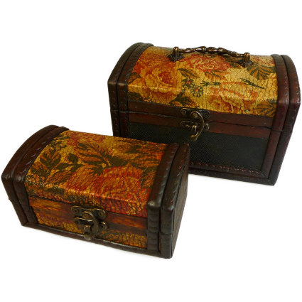 Set of 2 Colonial Boxes - Gold Rose