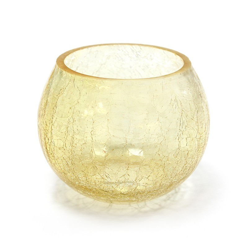 Crackle Candle Holder - Amber