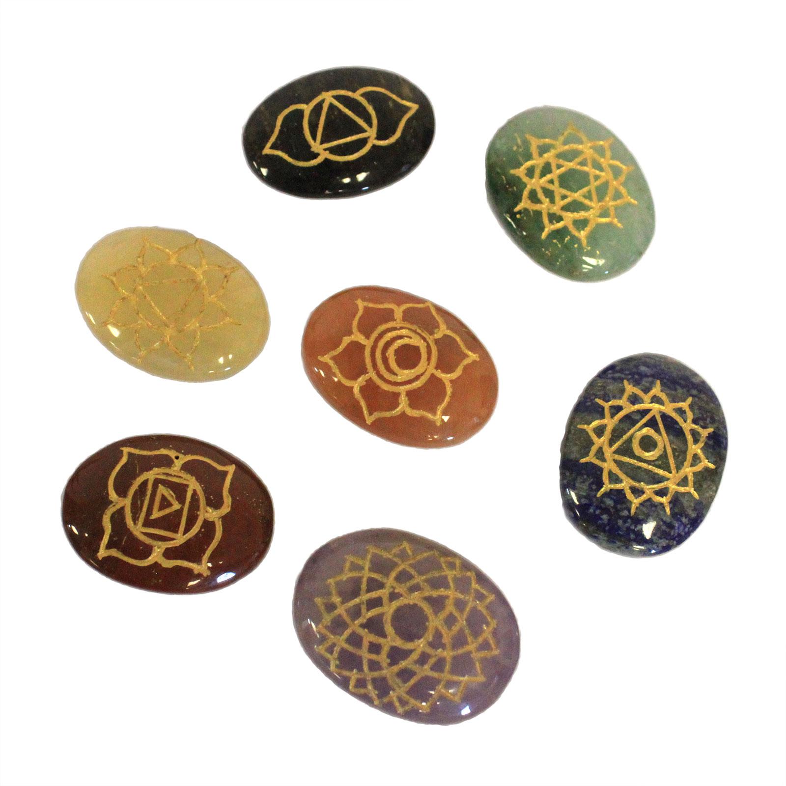 Lrg Stones Chakra Set ( oval shape )
