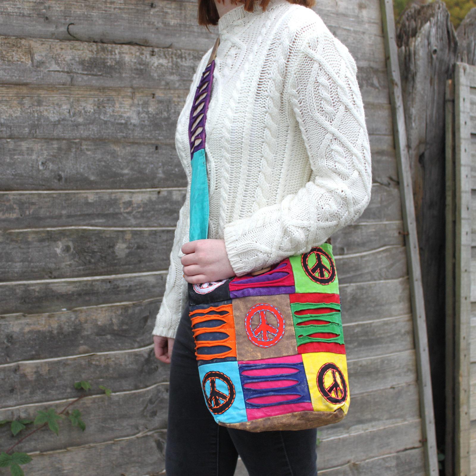 Ethnic Sling Bag - Sand / Peace
