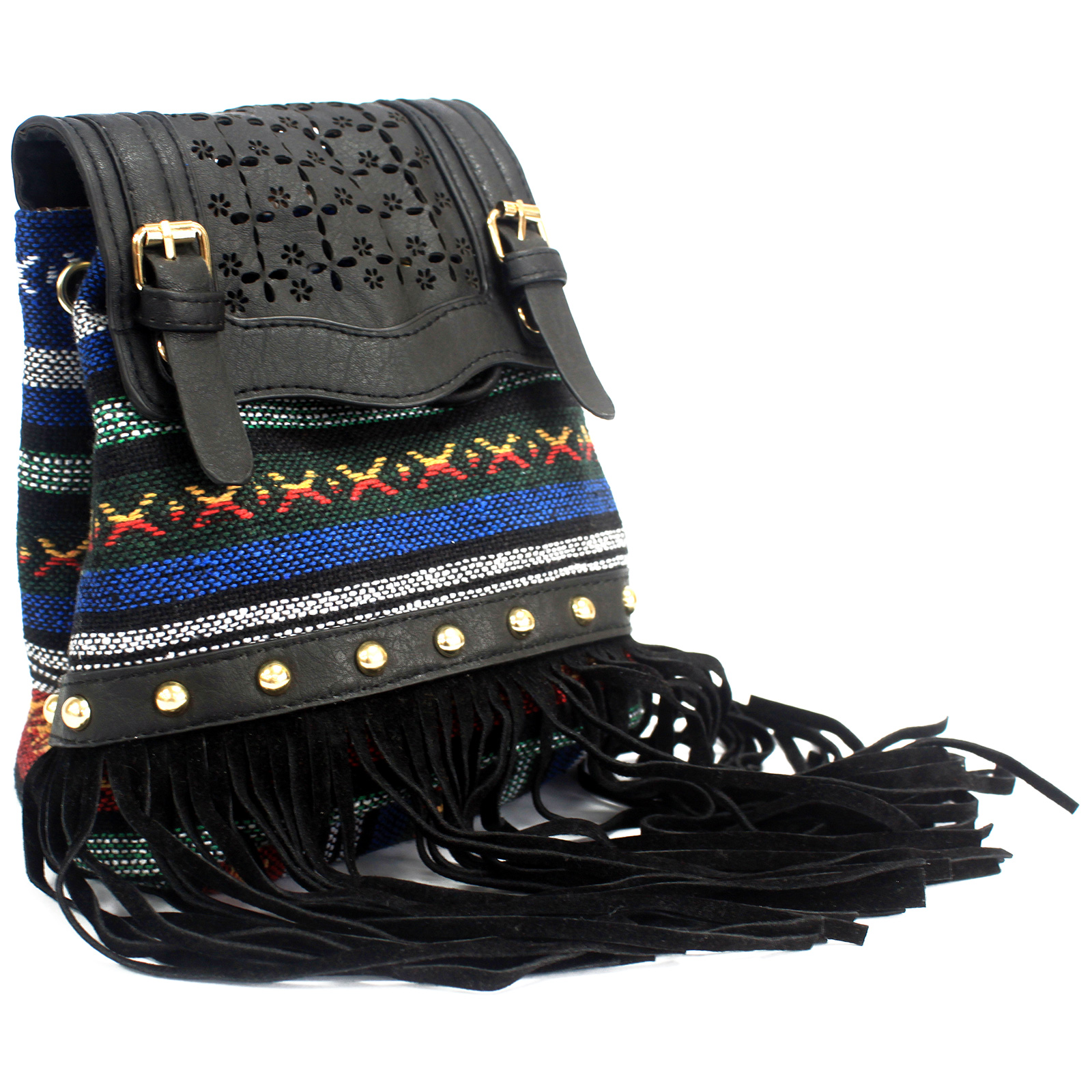 Milan - Black Stripy With Fringe