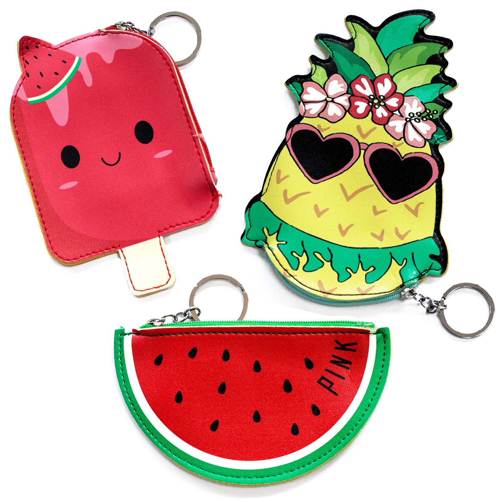 Fun Money Pouch -PACK OF 3 - ONE OF EACH DESIGN - Fruity Fun