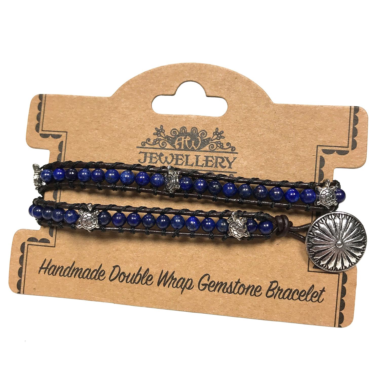 Double Wrap Bracelet -Tortoise with Lapis