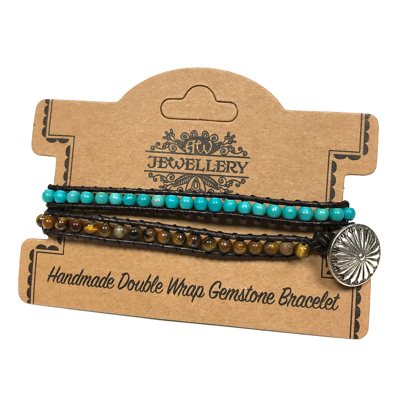 Double Wrap Bracelet -50/50 - Turquoise & Tiger Eye