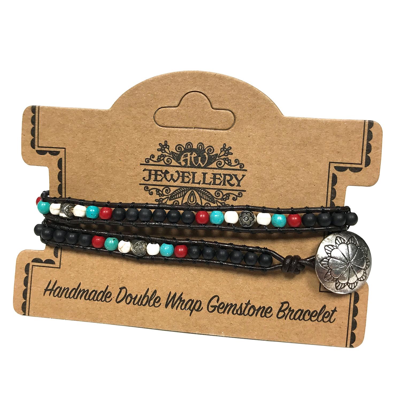 Double Wrap Bracelet -Multi Stone with Floral Detail