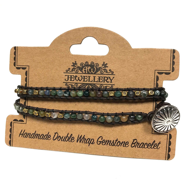 Double Wrap Bracelet -Multi Moss Agate