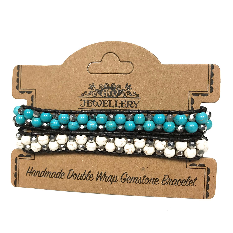 Double Wrap Bracelet - 50/50 - Turquoise & White Agate
