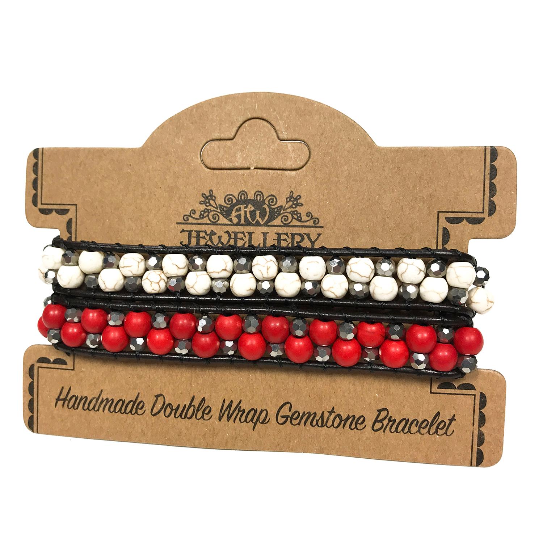 Double Wrap Bracelet - 50/50 Rubystone & White Agate
