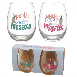 Pop the Prosecco Set of 2 Glass Tumblers - Prosecco Slogans