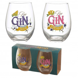 Gin the Mood Set of 2 Glass Tumblers - Gin Slogans