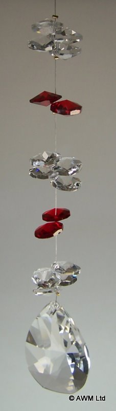 Ruby & Clear Cluster With Teardrop