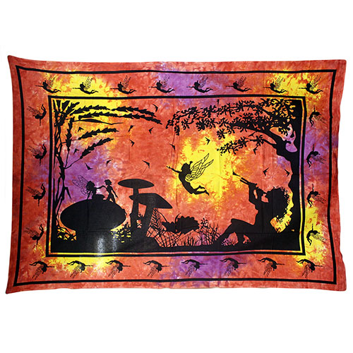 Red / Orange Fairy Under Tree Bedspread / Wall Art