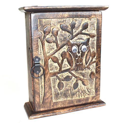 Wooden Owl Key Box