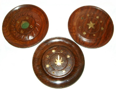100mm Diameter Sheesham Wood Disc Cone & Incense Holder