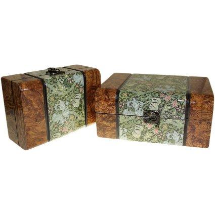 Set of 2 Boxes - Med Walnut Floral