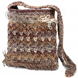 Crocheted Sling Bags - Brown & Cream (Assorted Colours)