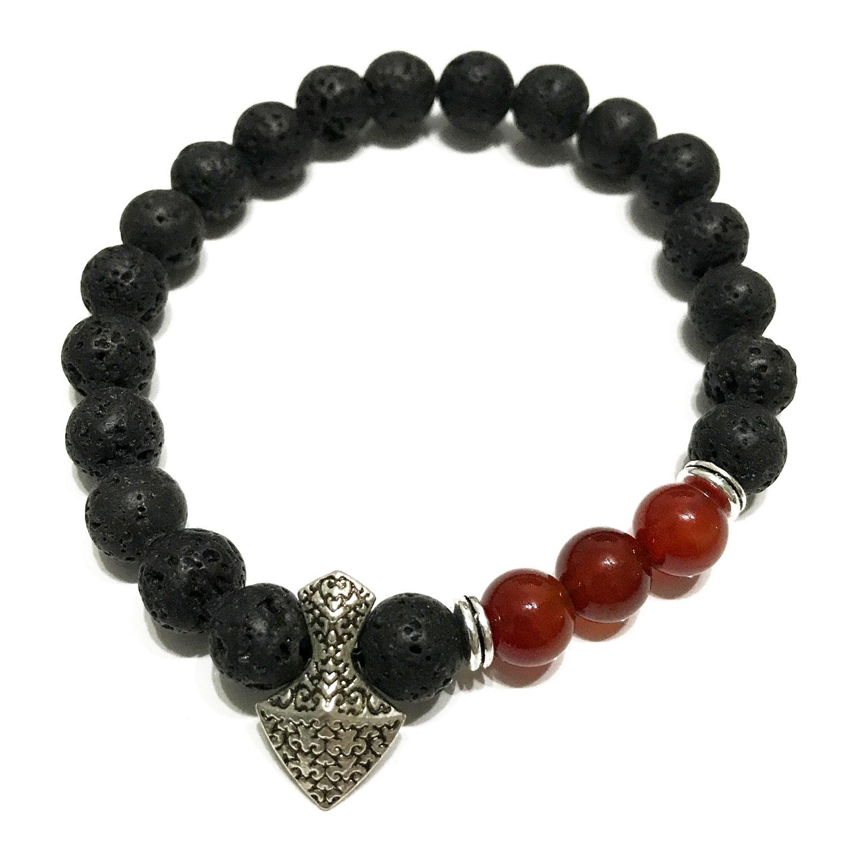 Lava Stone Bracelet - Axe-head Carnelian