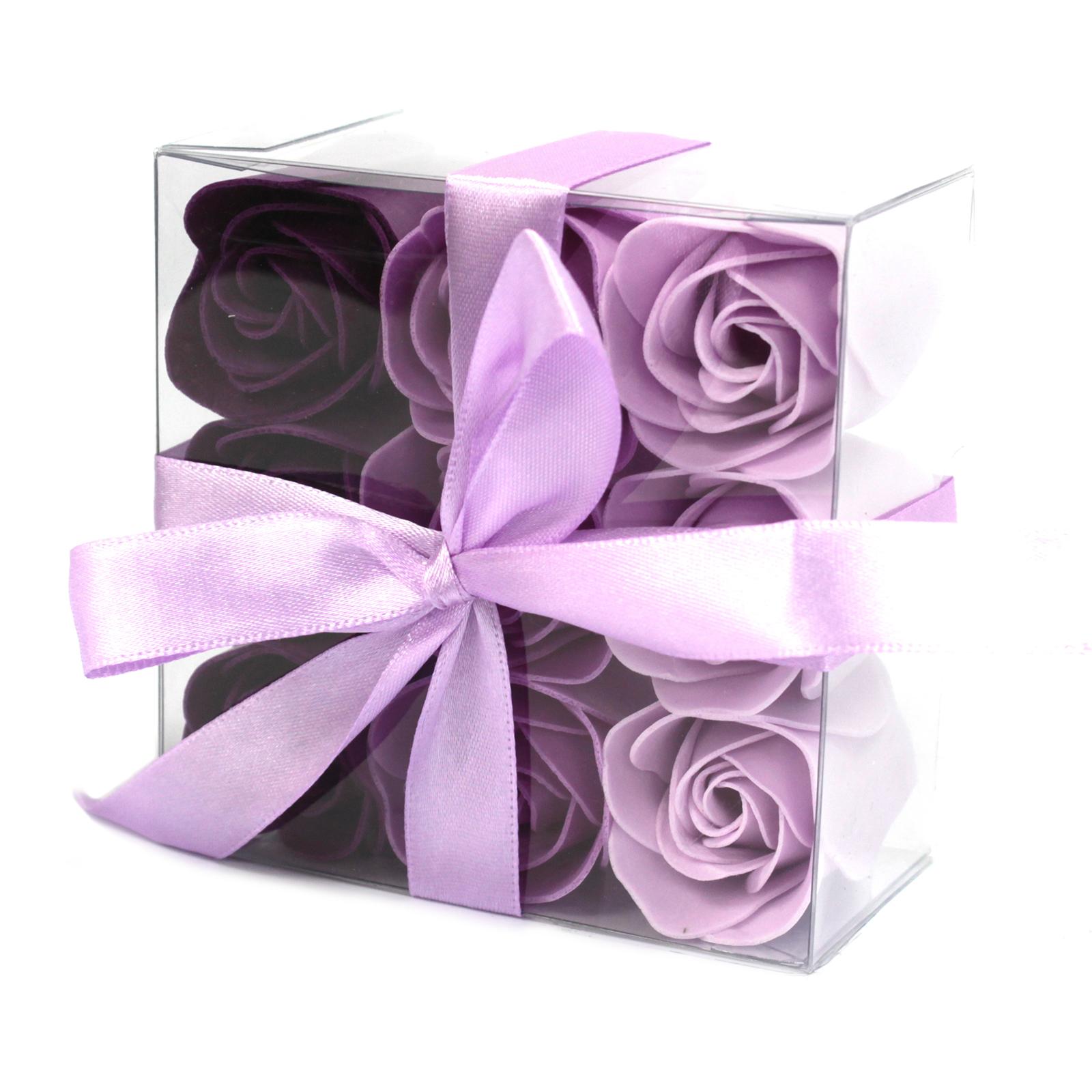 1x Set of 9 Soap Flower - Lavender Roses