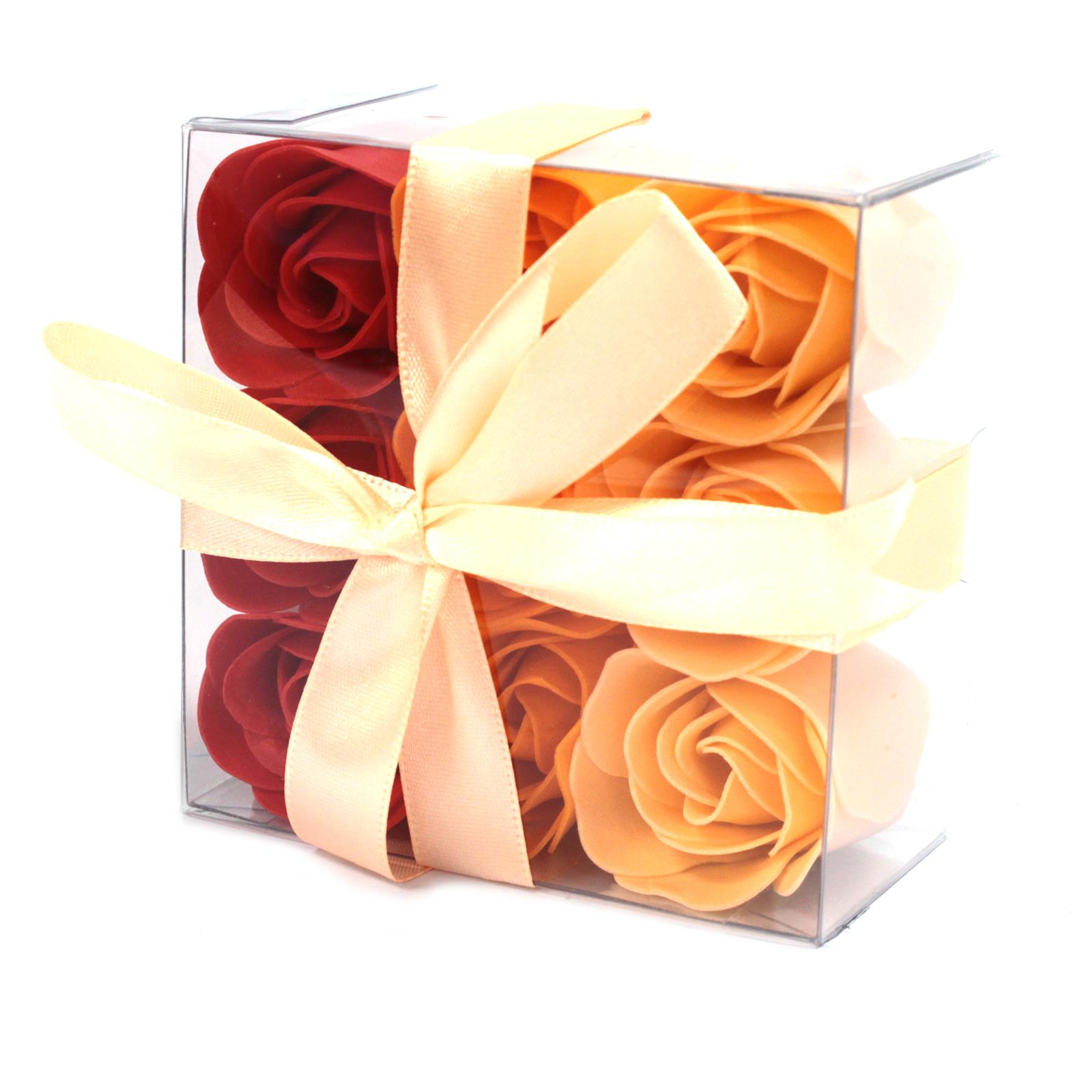 1x Set of 9 Soap Flower Box - Peach Roses
