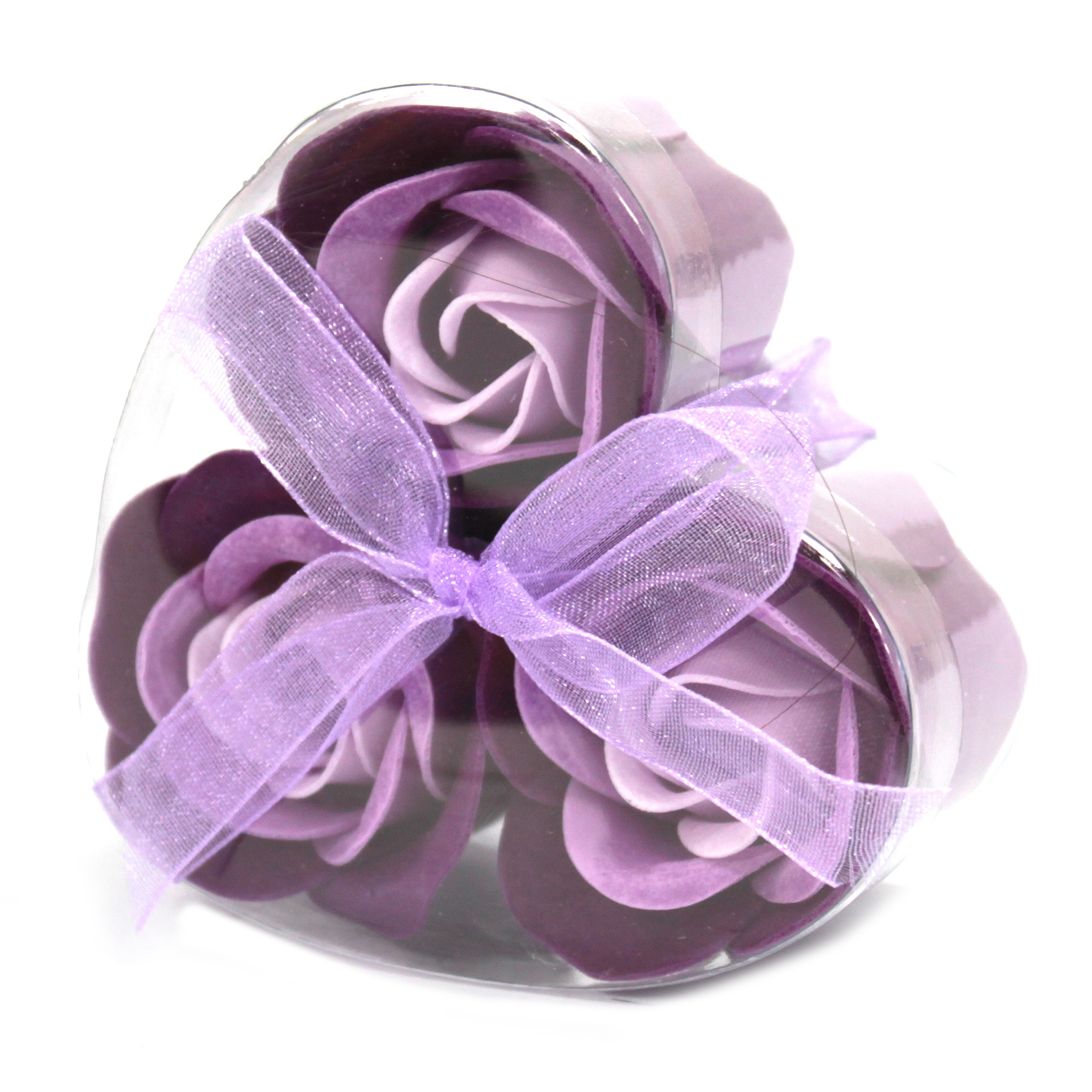 1x Set of 3 Soap Flower Heart Box - Lavender Roses