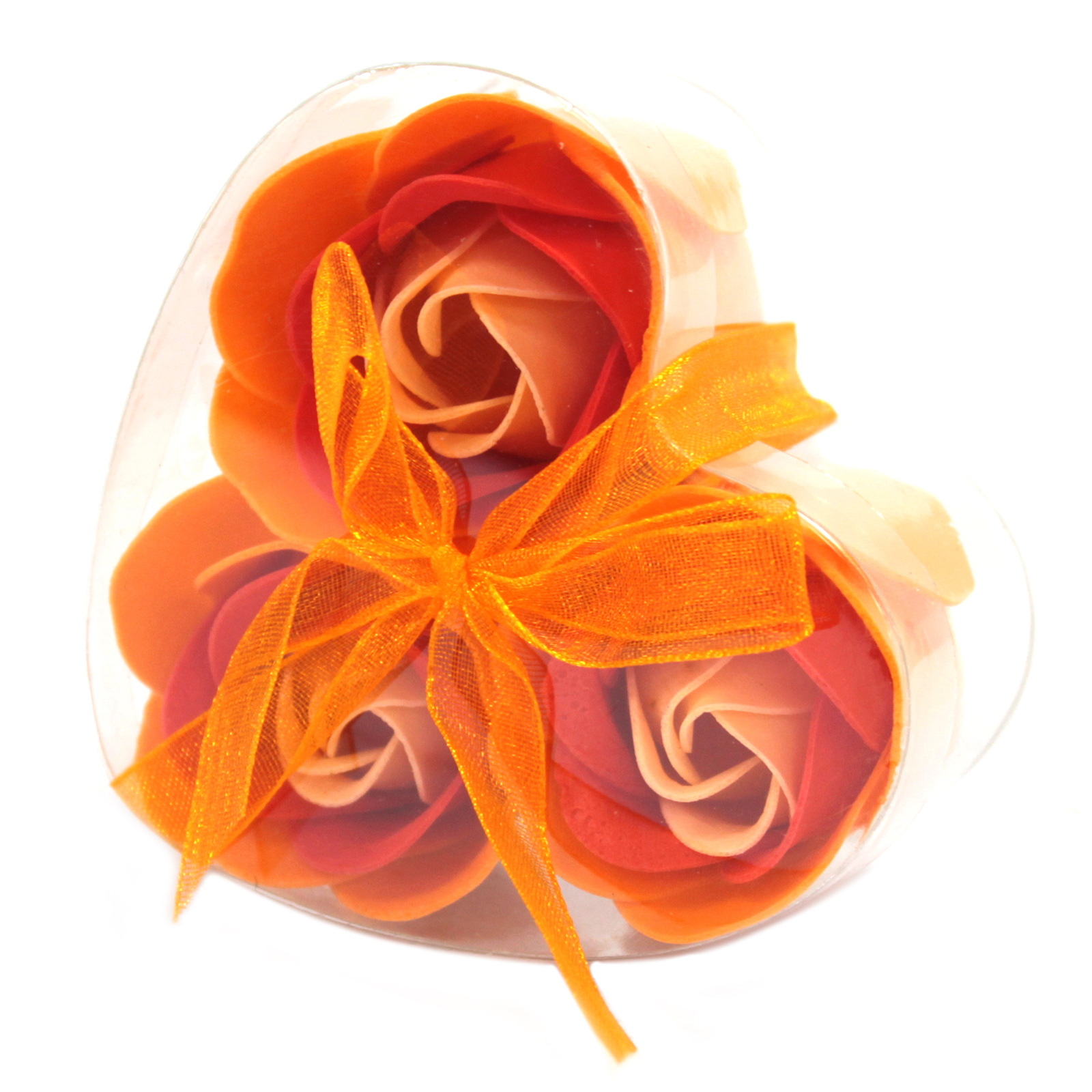 1x Set of 3 Soap Flower Heart Box - Peach Roses
