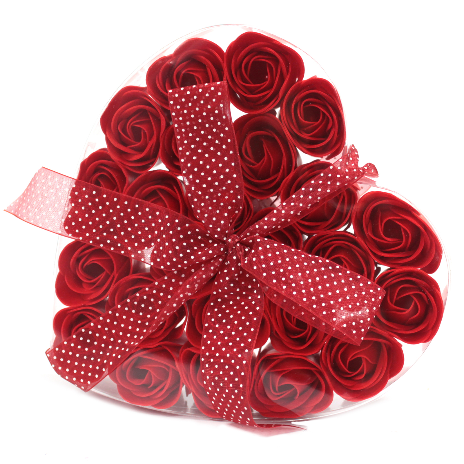 1x Set of 24 Soap Flower Heart Box - Red Roses