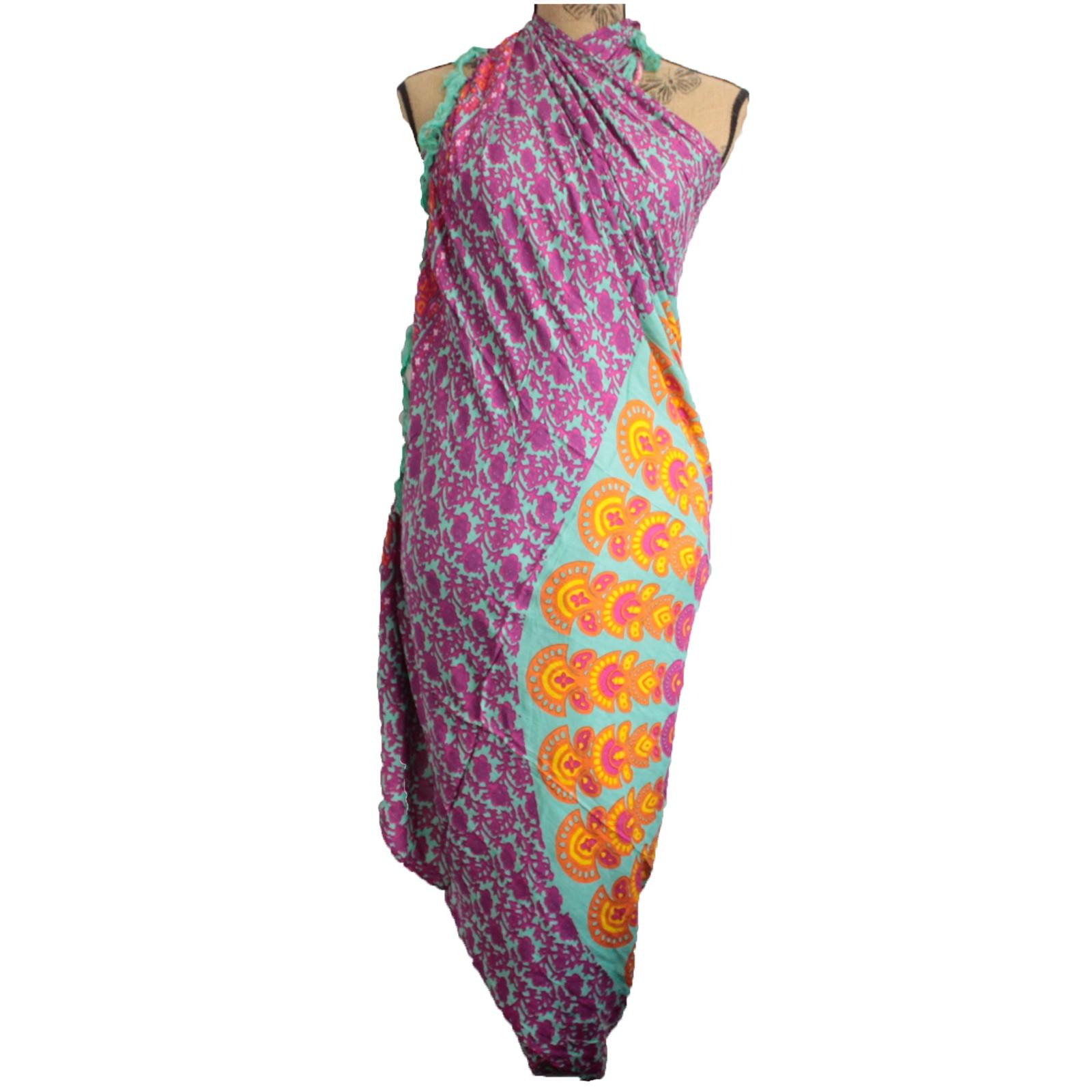 Teal Purple Mandala Sarong