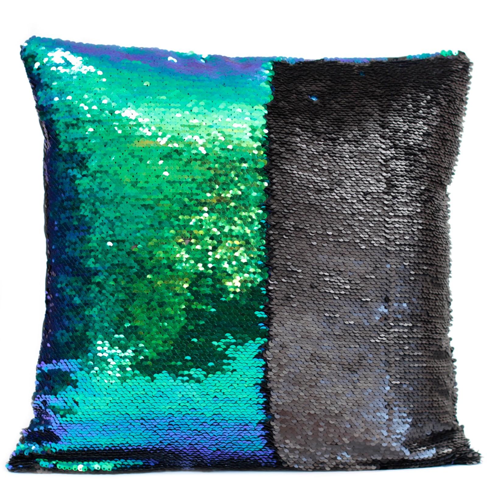 2x Mermaid Cushion Covers - Midnight Black in an Aqua Sea