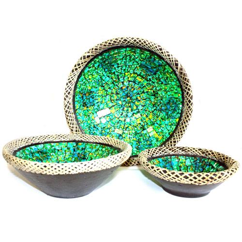 1x Set of Three Rattan Mosaic Bowls - Golden Green