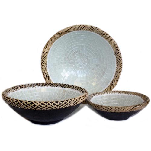 1x Set of Three Rattan Mosaic Bowls - White Marble