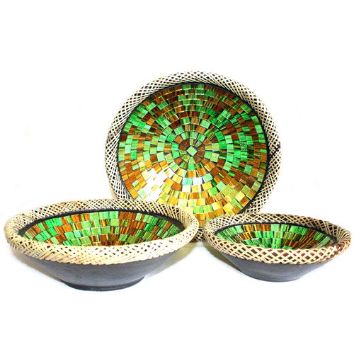 1x Set of Three Rattan Mosaic Bowls - Golden Moss