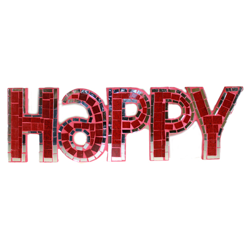 Mosaic  - Happy - Red