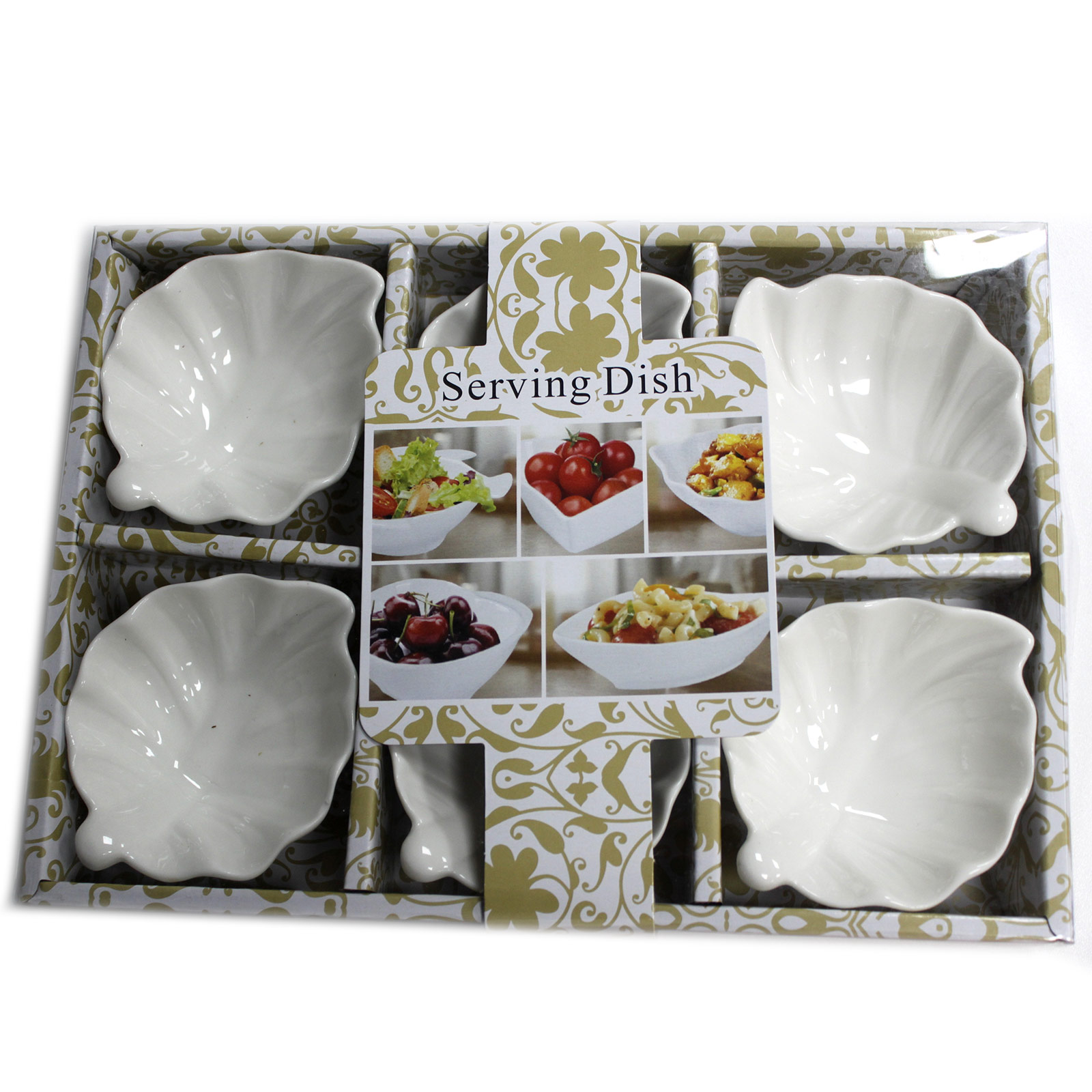 Set of Six Leaf Shape Olive Dishes