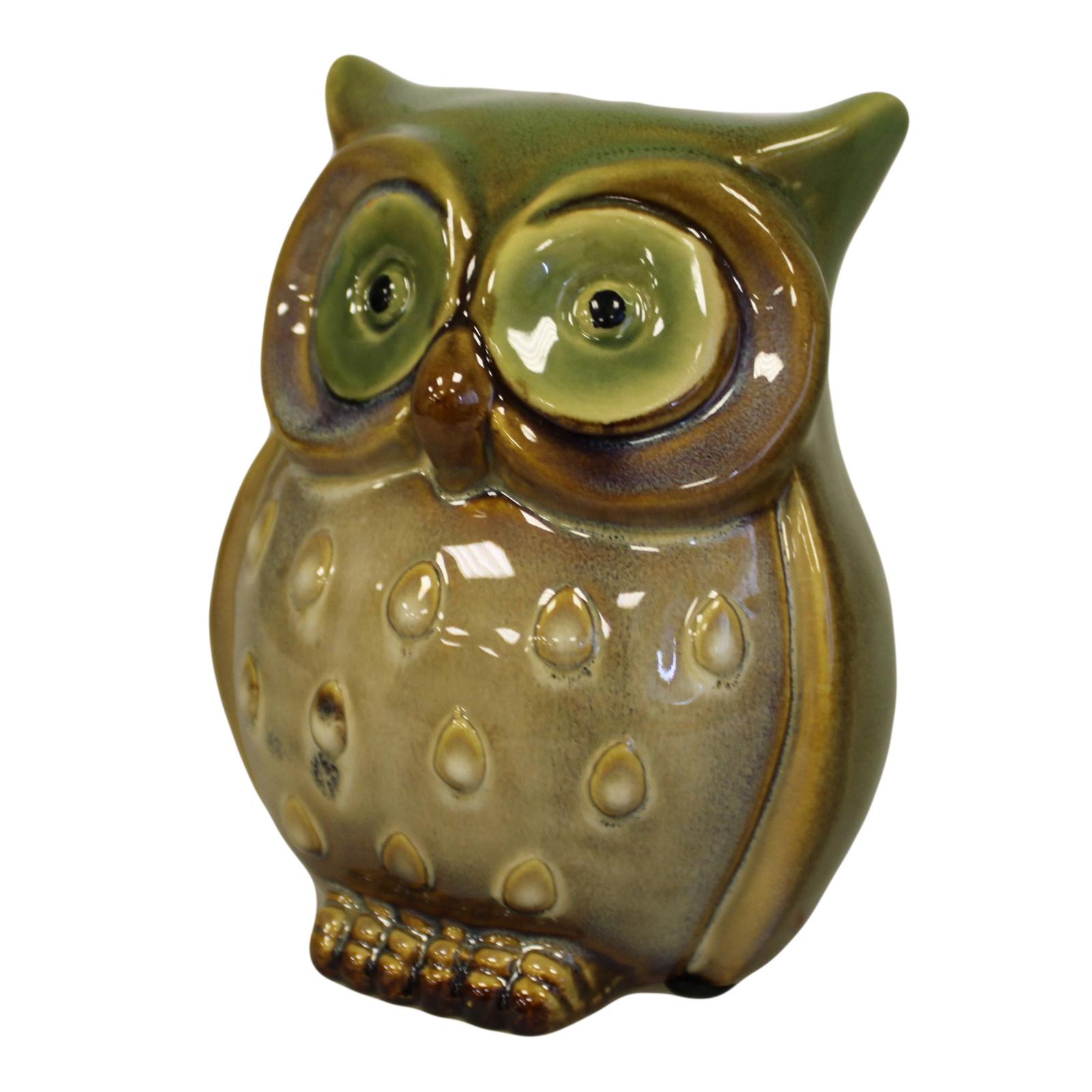 Ceramic Owl Bank - Green