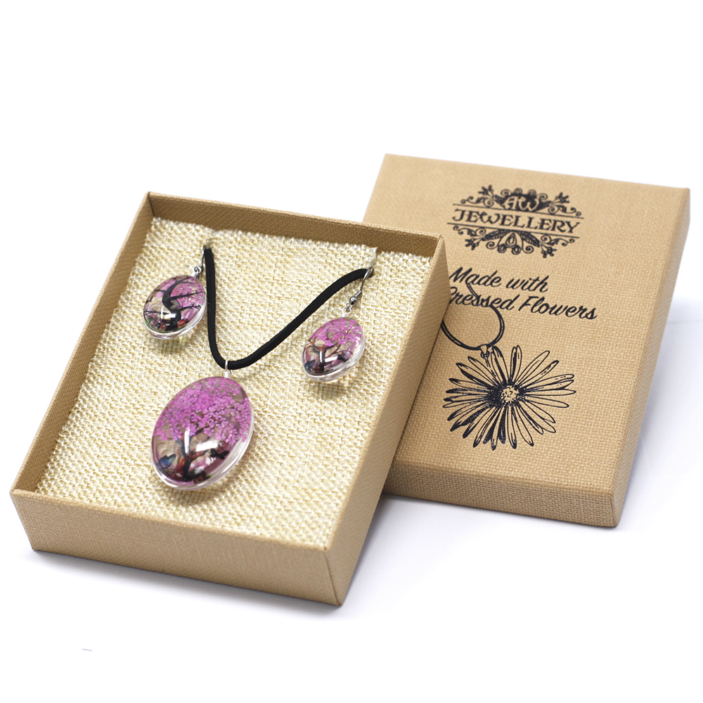 Pressed Flowers - Tree of Life set - Bright Pink