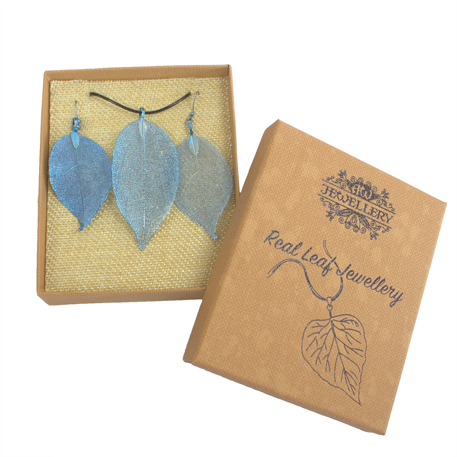 Necklace & Earring Set - Bravery Leaf - Blue