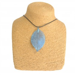Necklace - Bravery Leaf - Blue