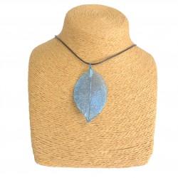 Necklace - Bravery Leaf - Blue