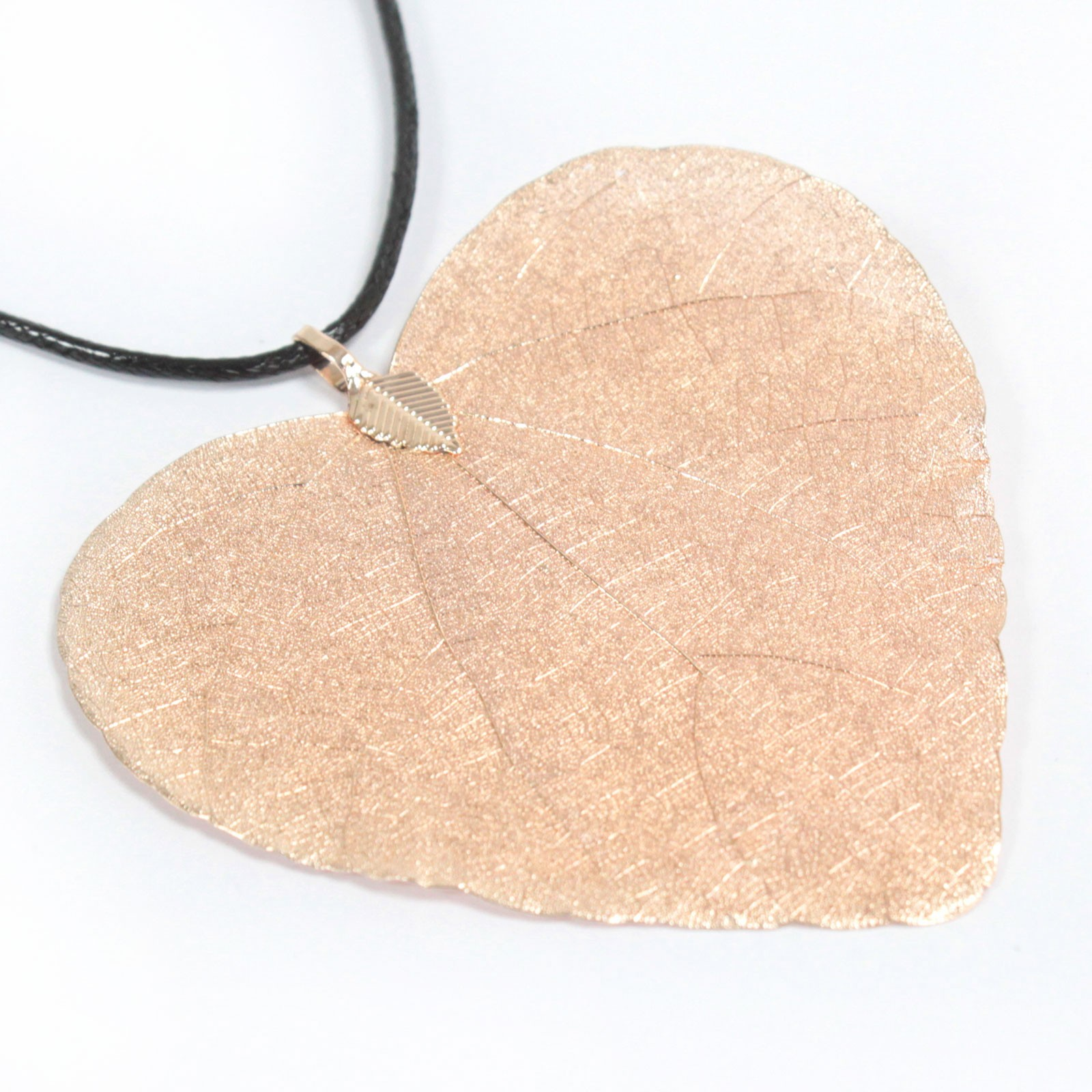 Necklace - Heart Leaf - Pink Gold