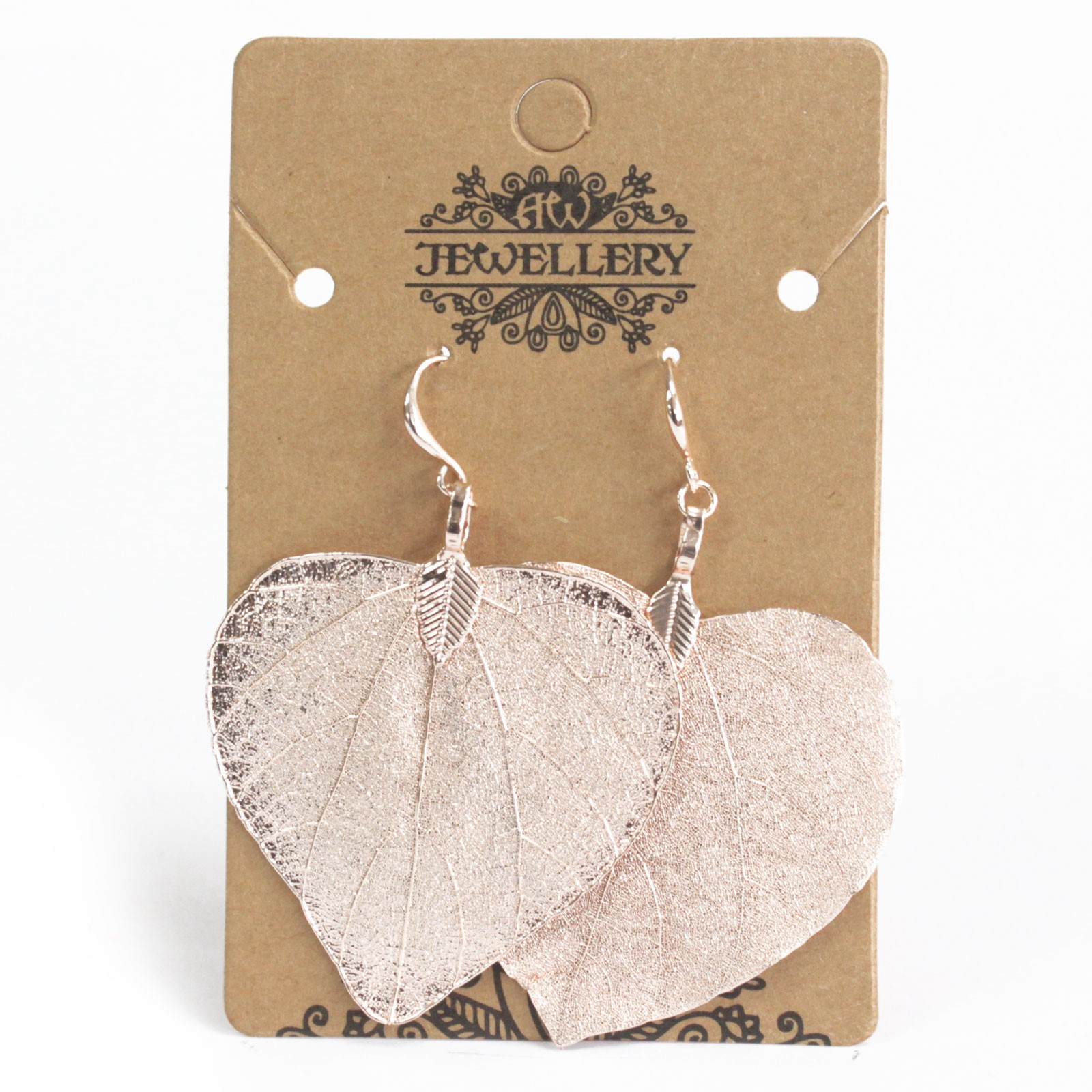 Earrings - Heart Leaf - Pink Gold